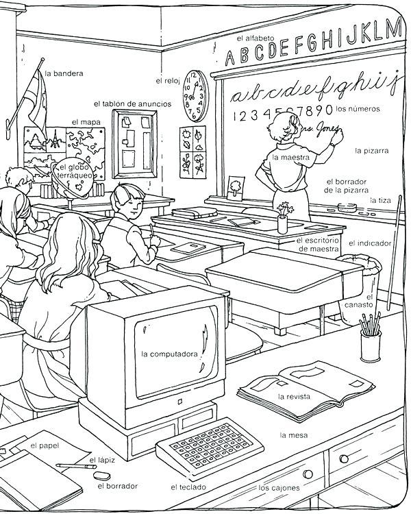 600x750 Classroom Coloring Page Classroom Coloring Page Language Learning