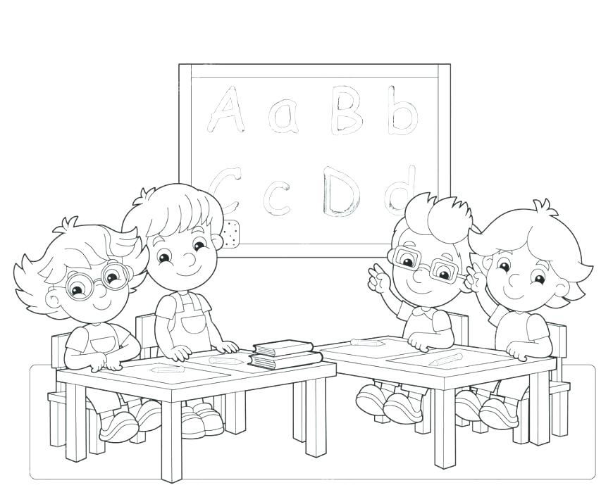 870x696 Classroom Coloring Pages Classroom Coloring Page My Classroom