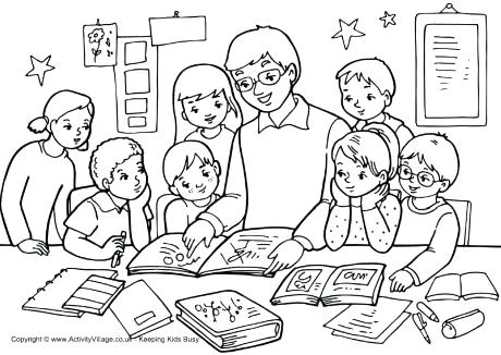 460x326 Classroom Coloring Pages Teacher Classroom Coloring Page Holidays