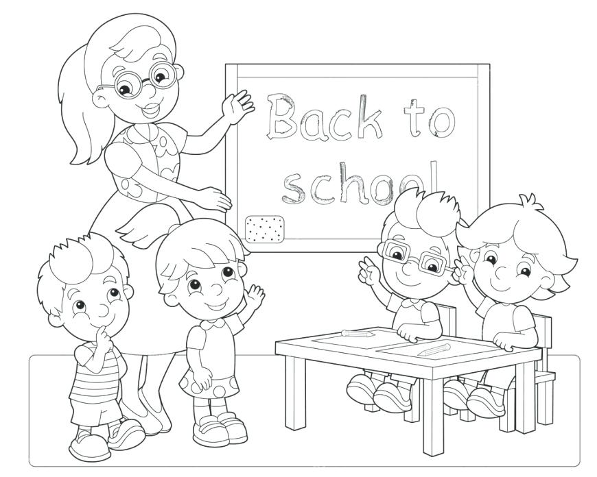 870x696 Coloring Pages Classroom Children Coloring In Classroom Coloring