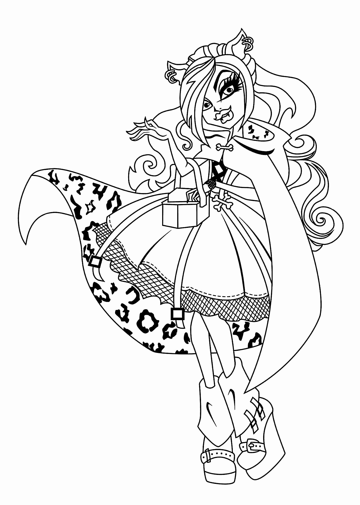 1483x2079 Monster Coloring Page Luxury Monster High Clawdeen Coloring Pages