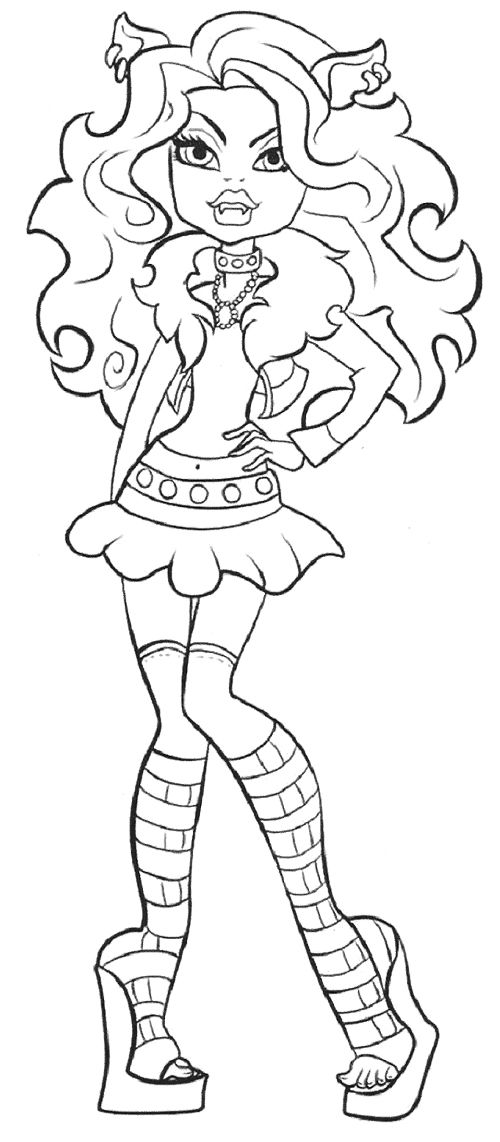 500x1142 Cute Clawdeen Wolf Coloring Page Monster High Wolf