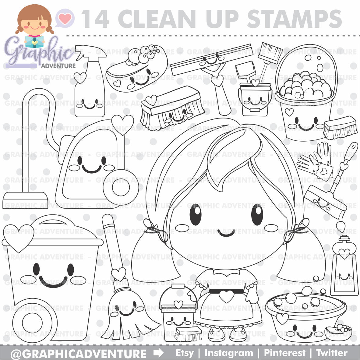 1182x1182 Clean Up Stamps Housekeeping Stamps Commercial Use Digi