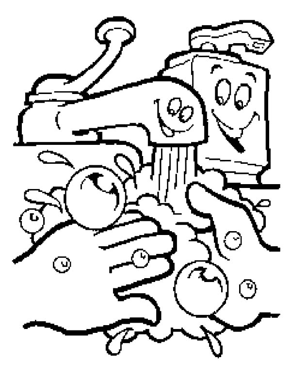 600x776 Hand Washing Coloring Pages For Preschoolers Collection