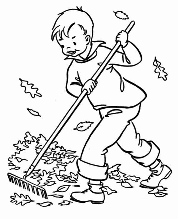 600x735 A Boy Clean Up Autumn Leaf Coloring Page