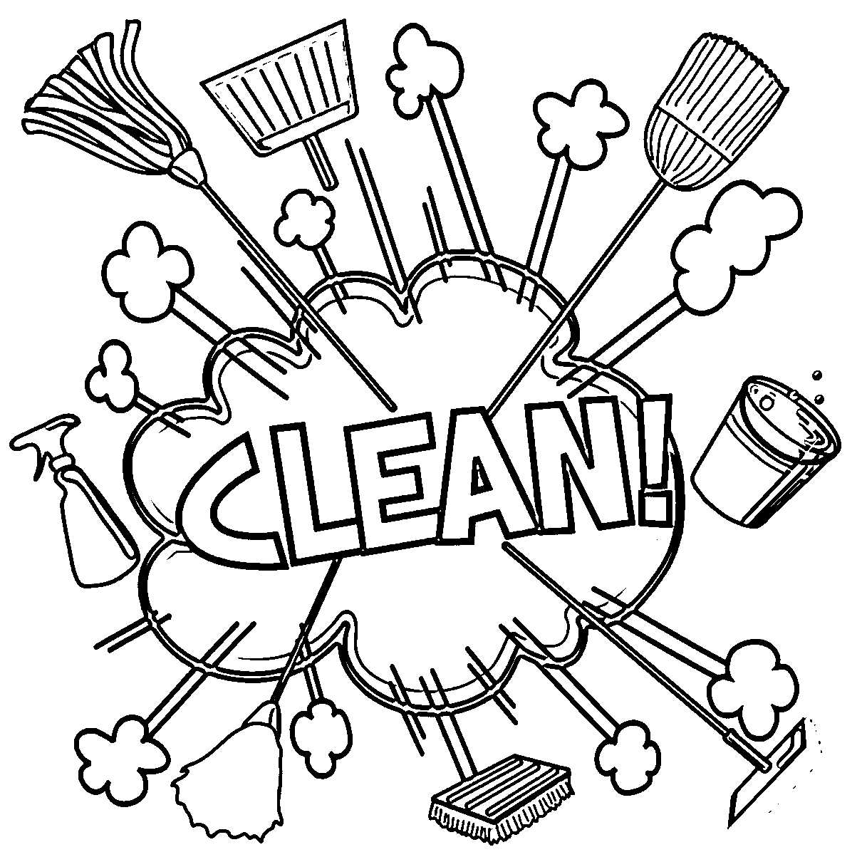 Cleaning Coloring Pages