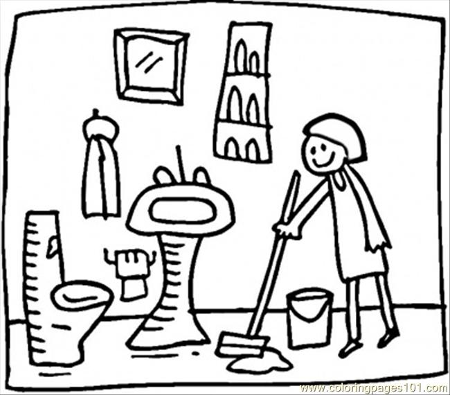 650x570 Cleaning The Bathroom Coloring Page