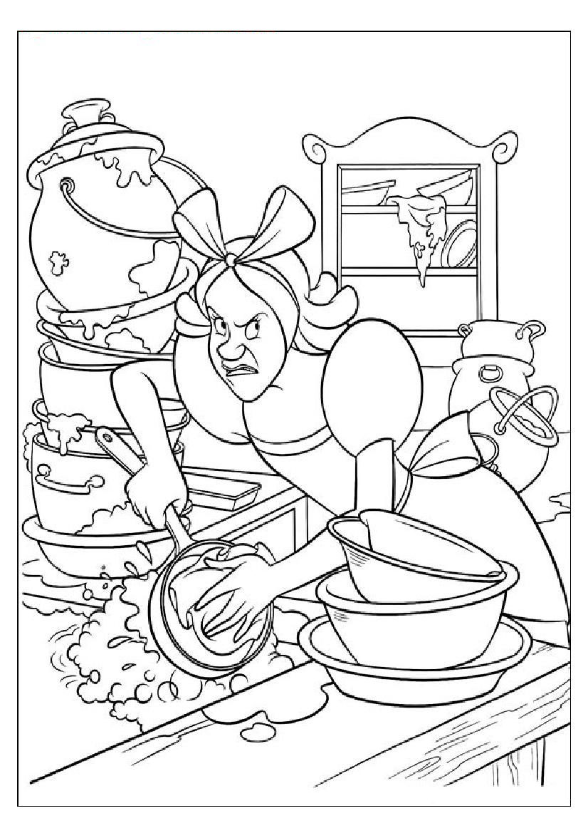 826x1169 Coloring Pages Of Cinderella's Step Sister Cleaning Utensils