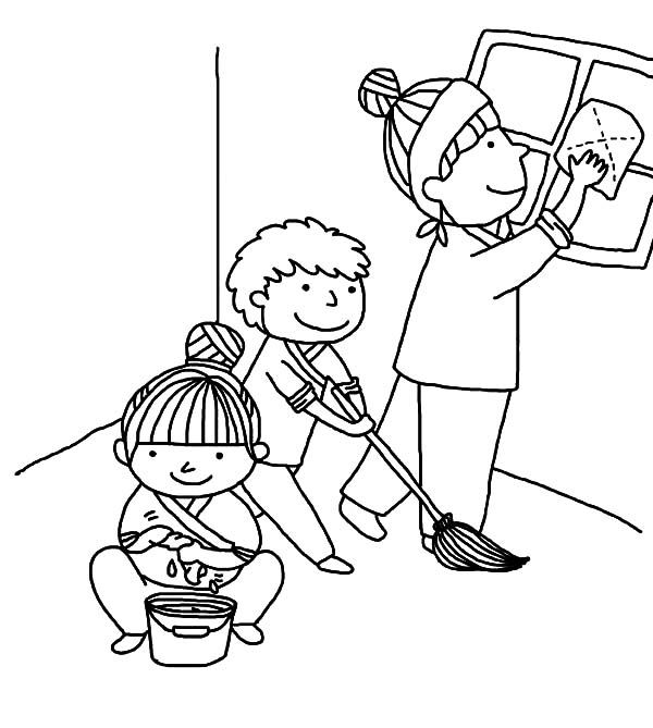 600x669 Kindness Is Helping Mother Cleaning House Coloring Pages Toddler