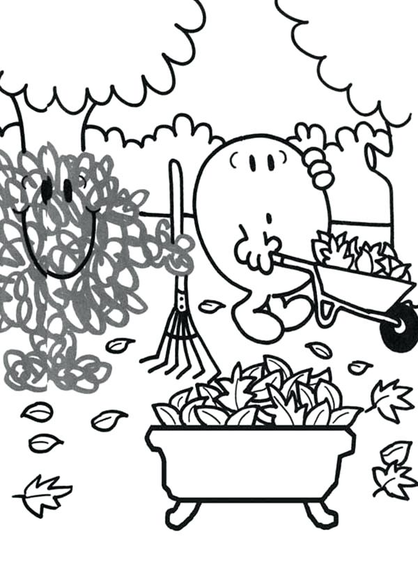 600x810 Mr Men Coloring Pages Cleaning Dry Leaves In Autumn In Men