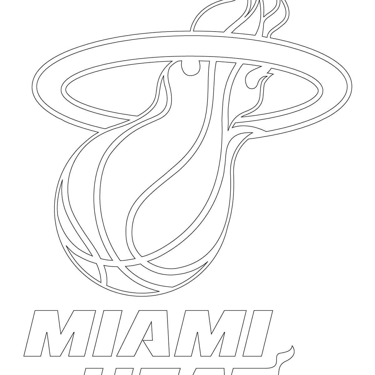 1200x1200 Basketball Teams Coloring Pages Free Miami Heat And Nba Logo