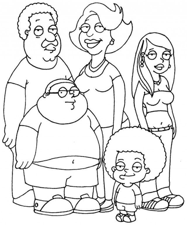 640x769 Cleveland Brown Jr Colouring Pages Adult Cartoon Colouring Pages