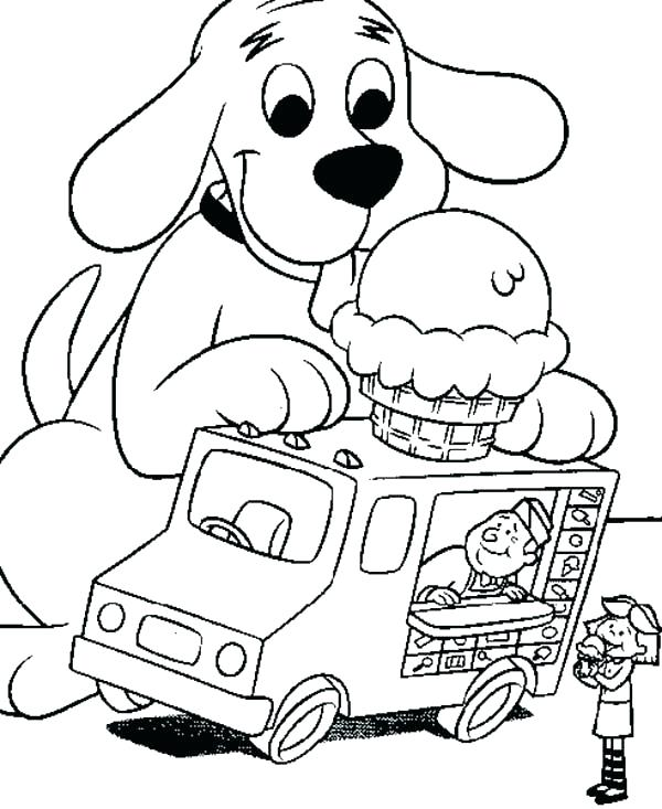 600x733 Clifford Coloring Pages Free Page The Big Red Dog Like Ice On Top