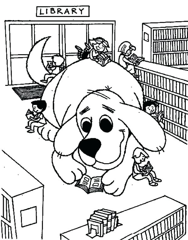 600x766 Clifford Coloring Pages Free The Dog In Library Coloring Pages