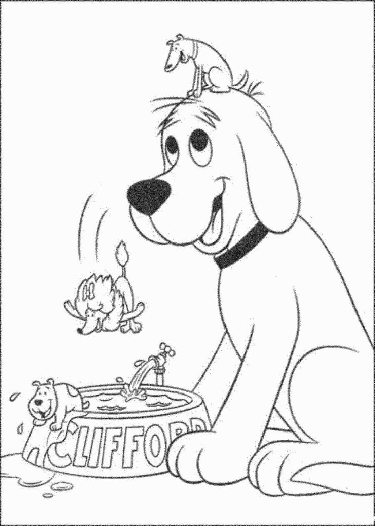 730x1024 Clifford Coloring Pages The Big Red Dog Get Bubbles