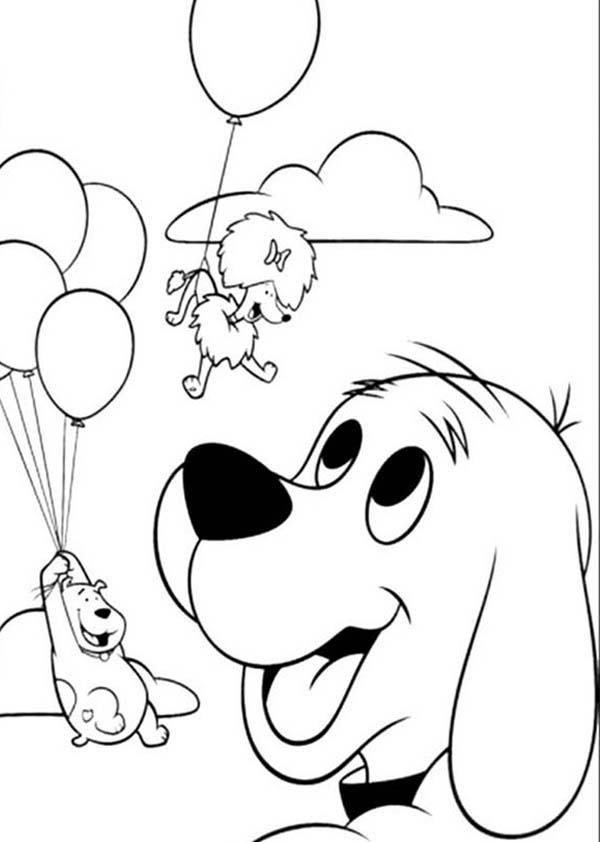 600x842 Clifford The Big Red Dog Want To Fly With Baloon Coloring Page