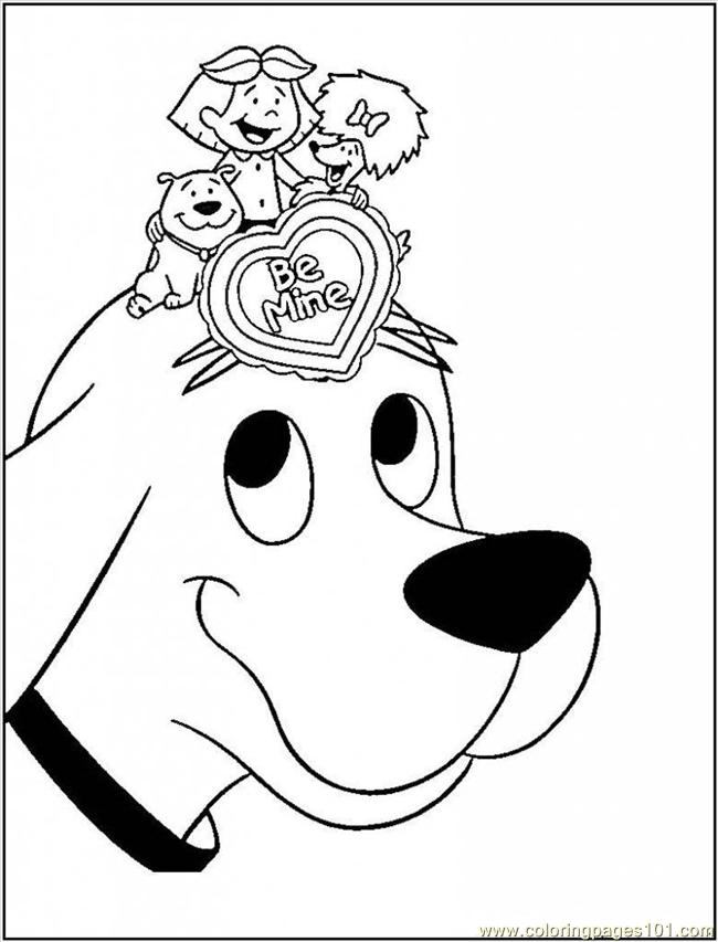 650x853 Printable Coloring Page Clifford Big Red Dog Cartoon Valentine