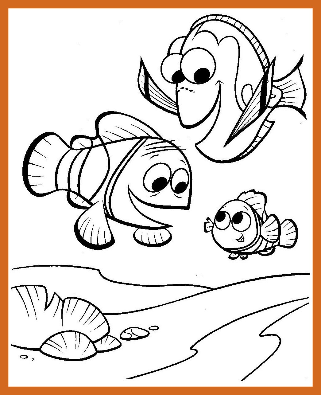 1046x1286 Shocking Finding Nemo Coloring Page Printable For Image To Print