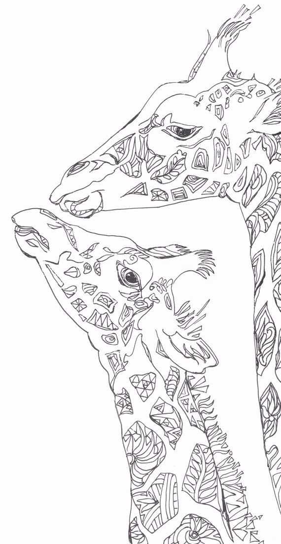 570x1103 Coloring Pages Printable Adult Coloring Book Giraffe Clip Art Hand