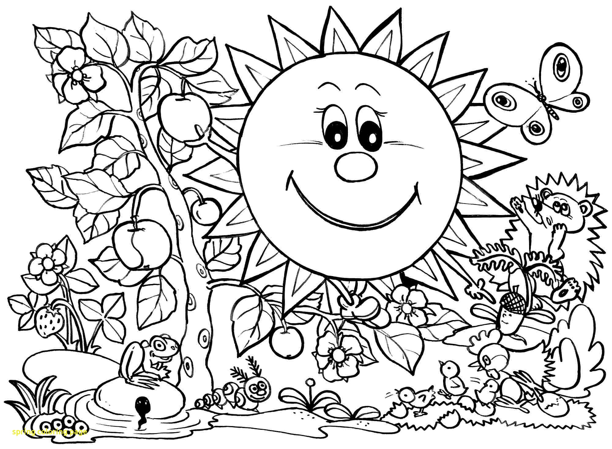 2000x1470 Spring Coloring Page With Pages Free Download Clip Art
