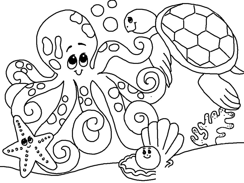 1024x768 Awesome Free Sea Creature Coloring Pages Animals Clam Graphics