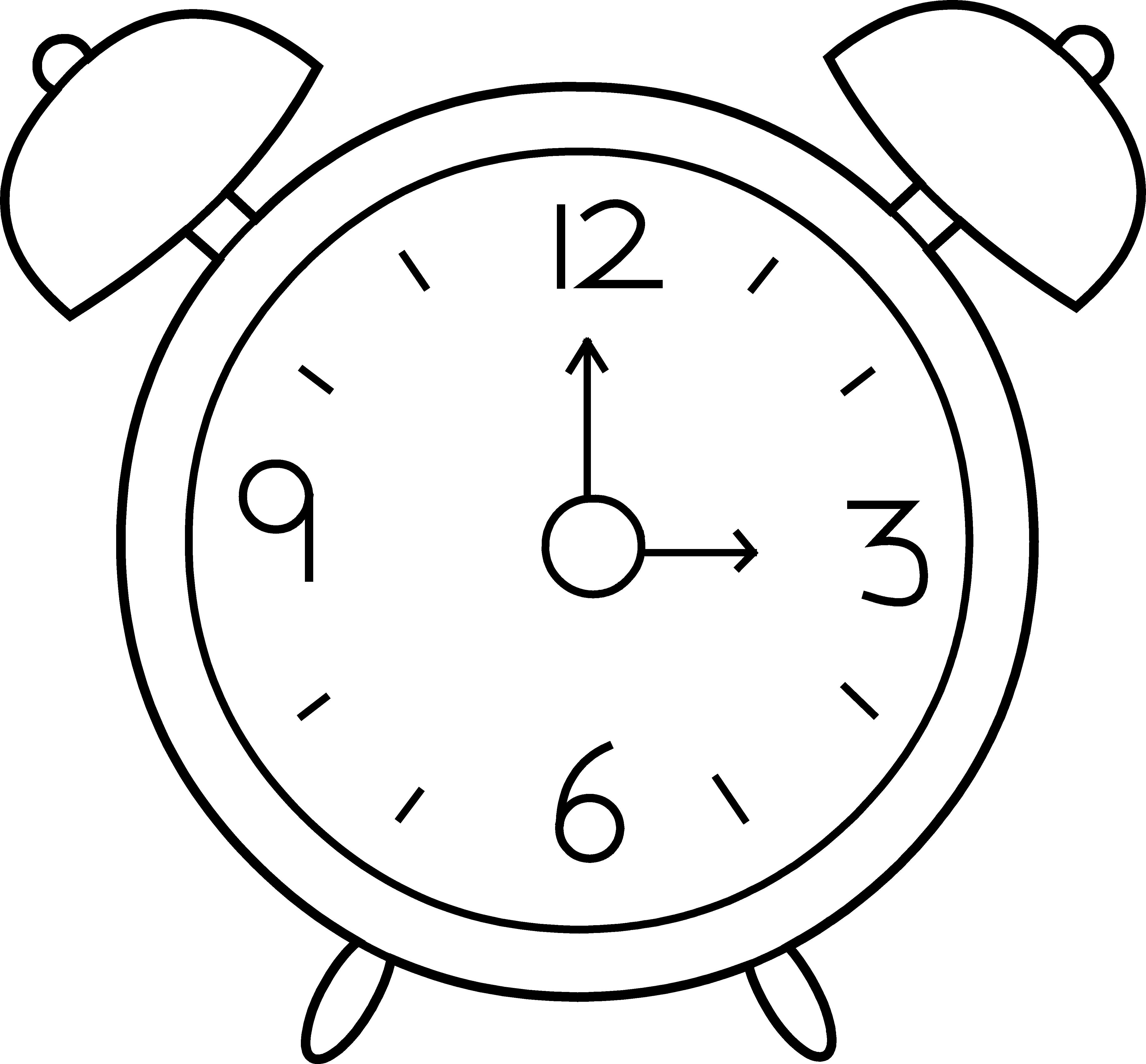 4548x4223 Clock Coloring Page Unique Alarm Line Art Free Clip Resume Also