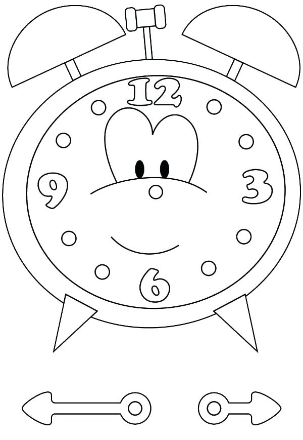 600x869 Clock Face Coloring Page For Alarm Clock Cartoon Of Alarm Clock