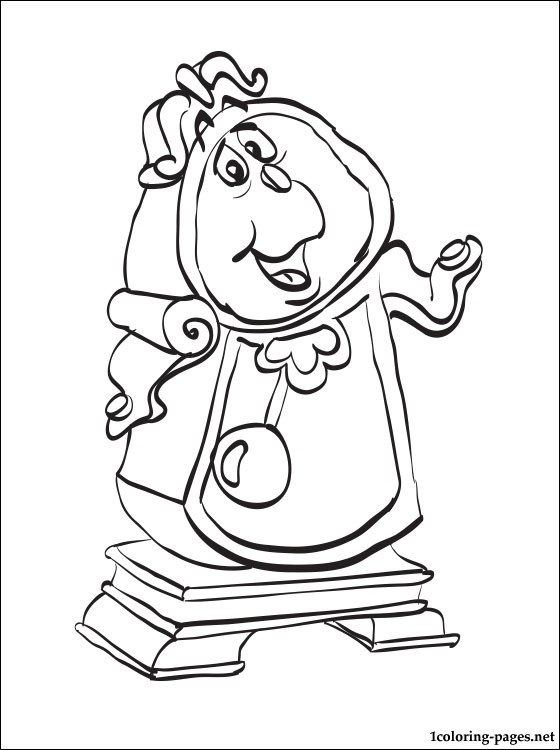 560x750 Cogsworth, Beauty And The Beast Coloring Page Coloring Pages