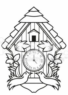 236x328 Create Your Own Cuckoo Clock, Digital Print Coloring Page Cuckoo