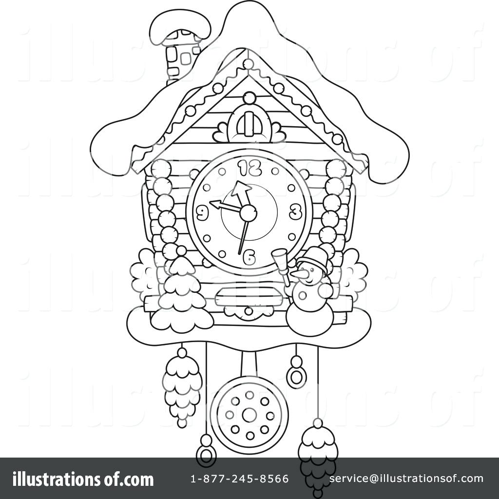 1024x1024 Cuckoo Clock Craft Coloring Page