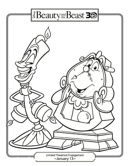 500x647 Lumiere And Mr Clock Coloring Page Beauty And The Beast Pages