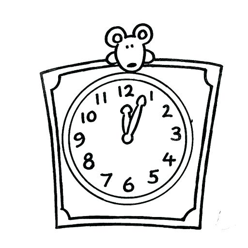 512x512 Clock Coloring Page Digital Clock Coloring Page Stock Clock
