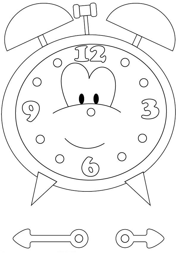 612x862 Free Printable Clock Coloring Pages For Kids Dibujos Infantiles