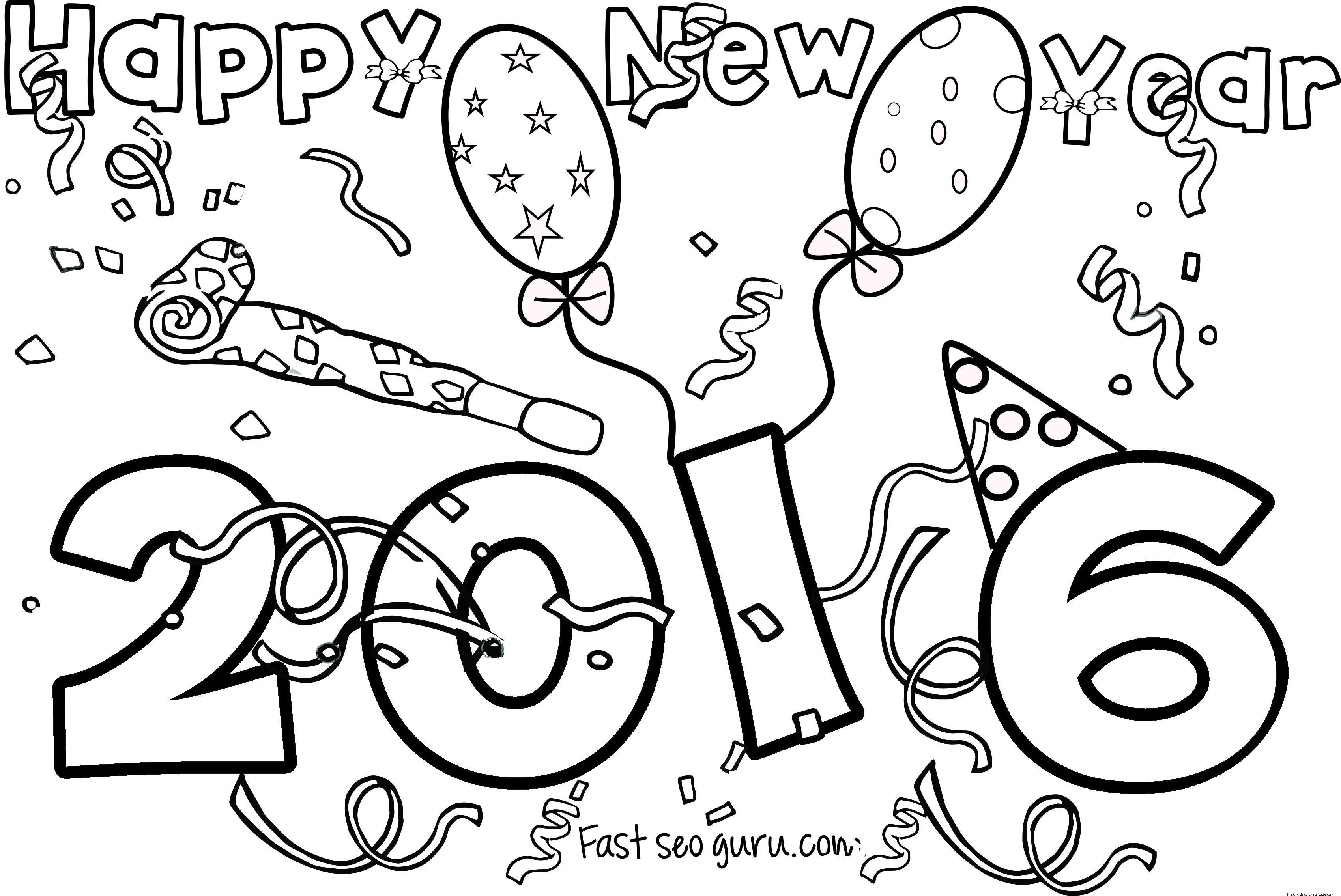 3399x2272 Happy New Year Printable Coloring Pages