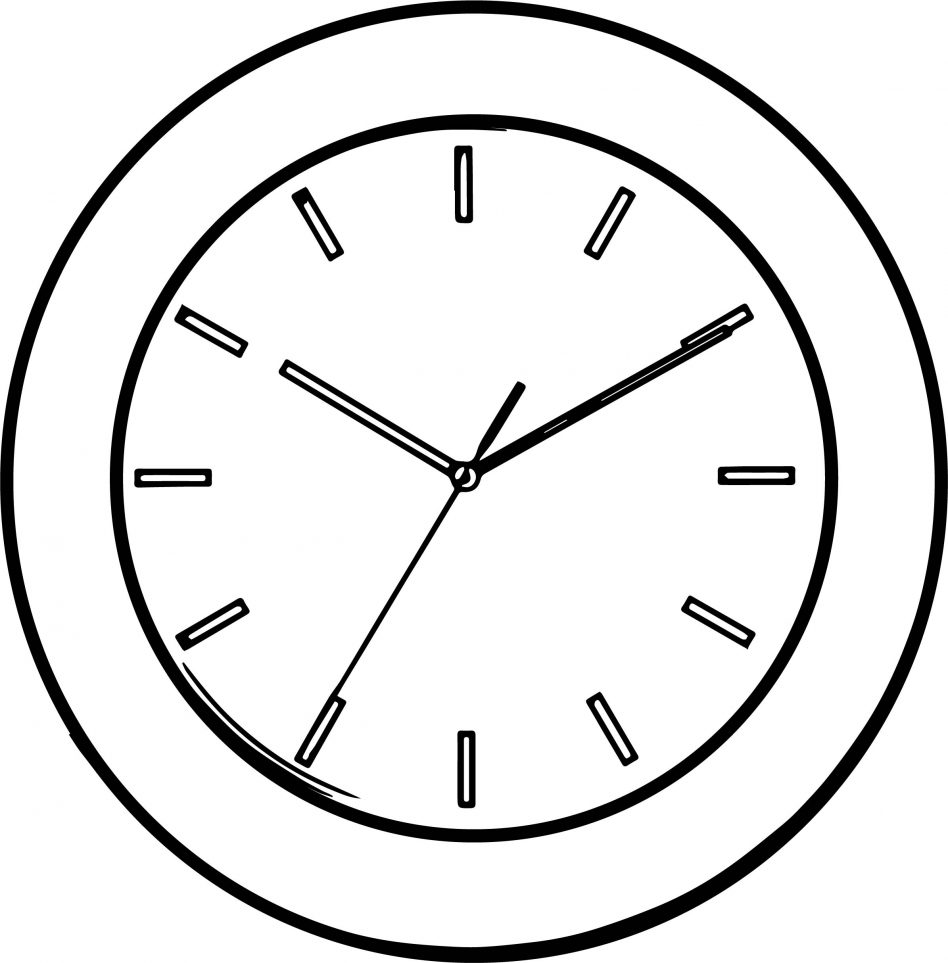 948x963 Clock Coloring Page
