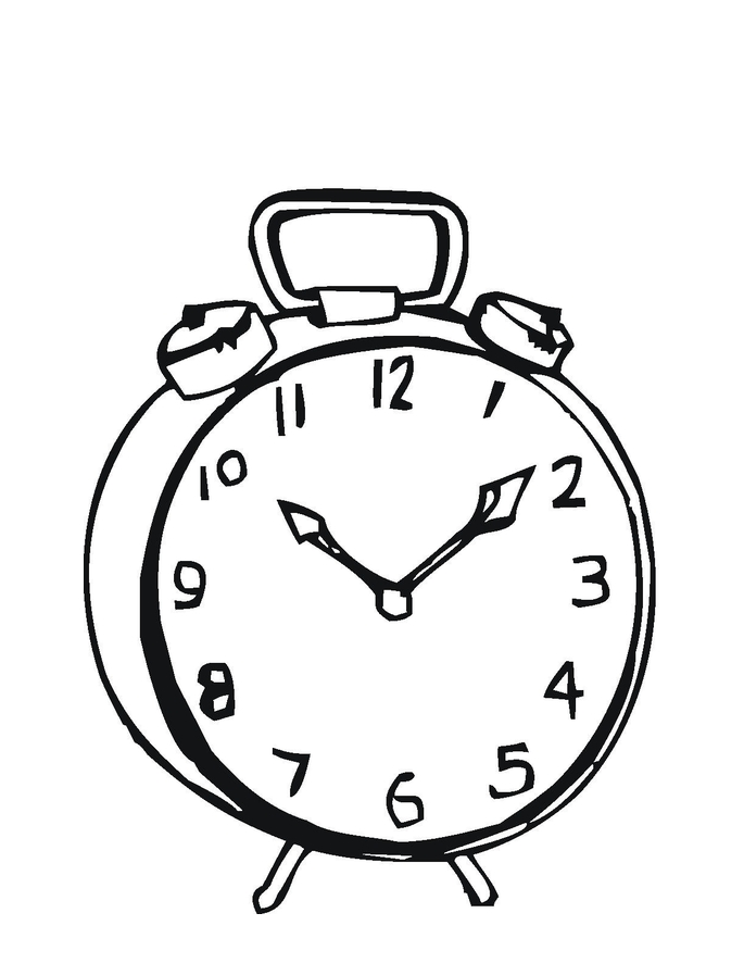 685x886 Clock Coloring Page