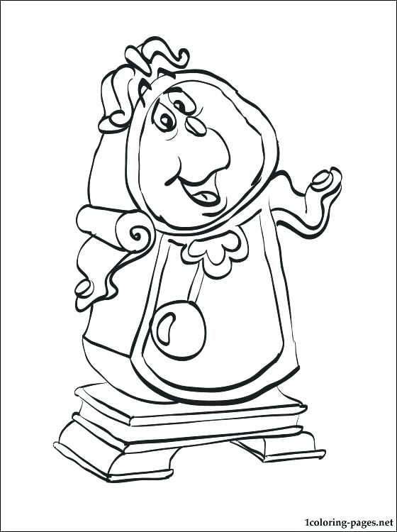 560x750 Clock Coloring Page Beauty And The Beast Clock Clock Coloring Page