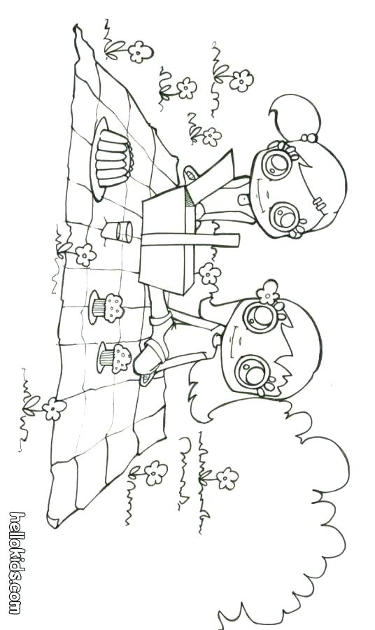 536x900 Picnic Table Cloth Coloring Page Teddy Bear Pages Girls Having Pag