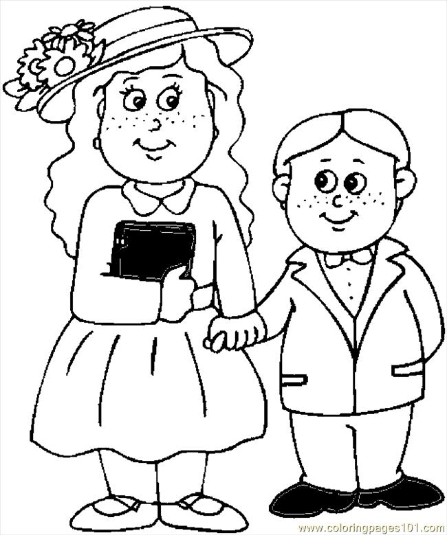 650x779 Kids In Easter Clothes Coloring Page