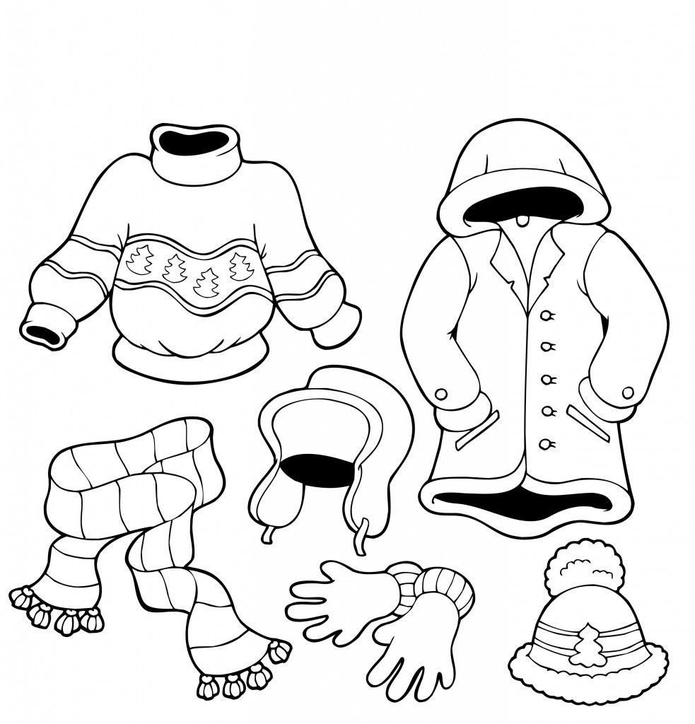 983x1024 Winter Clothes Coloring Pages Printable Page For Kids