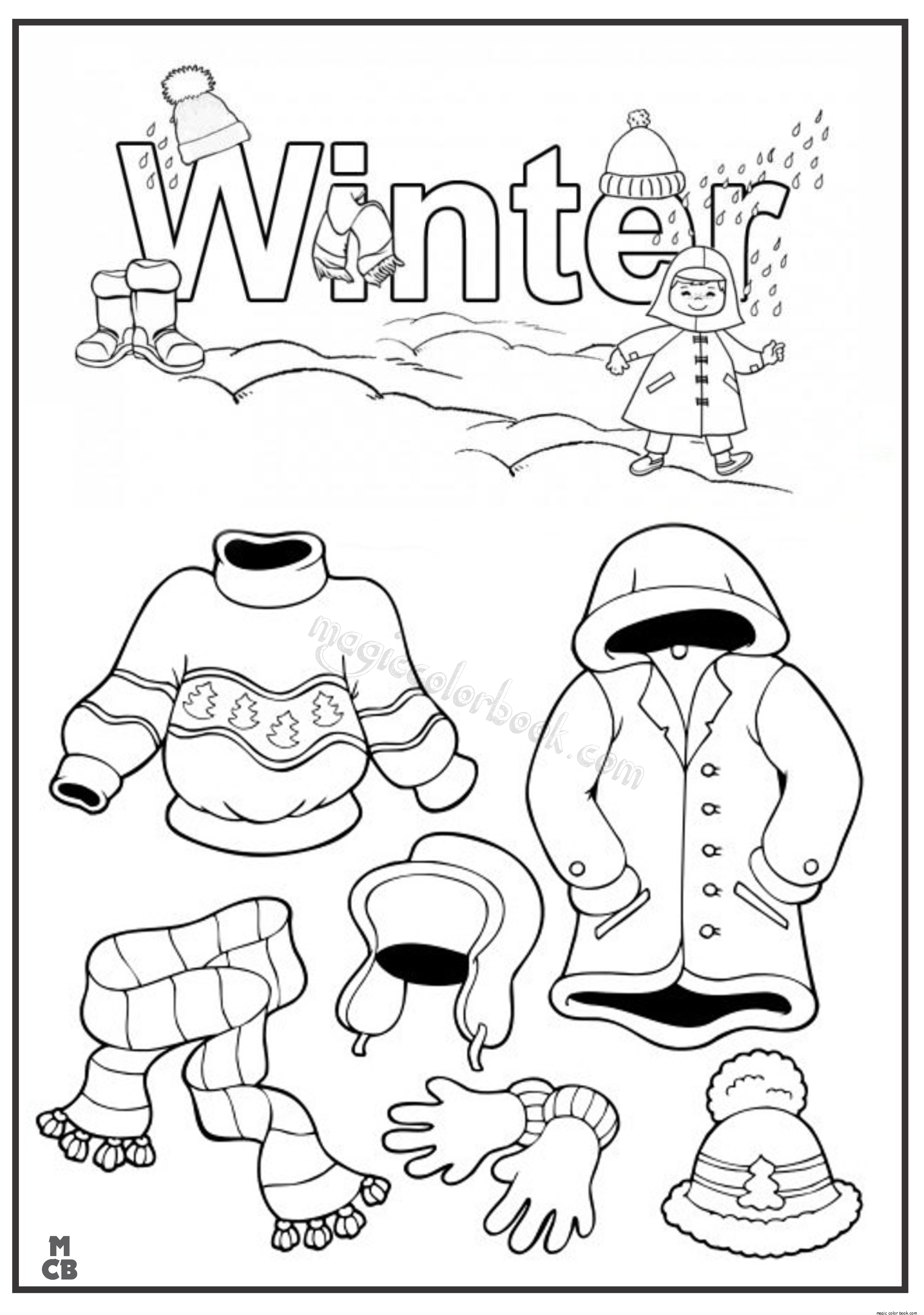 2449x3484 Winter Clothes Coloring Pages