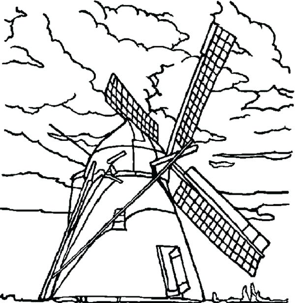 600x615 Rainy Day Coloring Page Windmills On Cloudy Day Coloring Pages