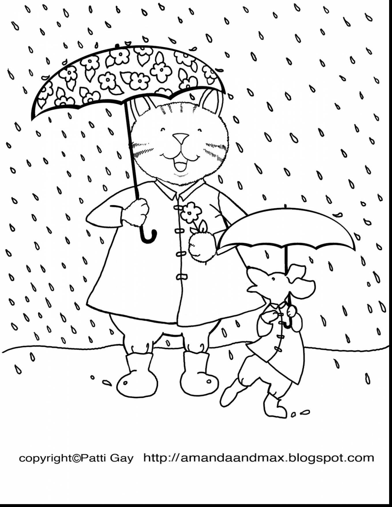 1359x1760 Day Coloring Page Beauteous Rainy Pages