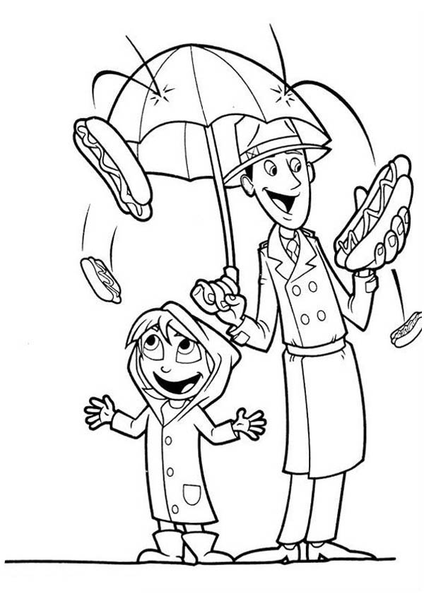 600x841 Hot Dog Rain In Cloudy With A Chance Of Meatballs Coloring Pages