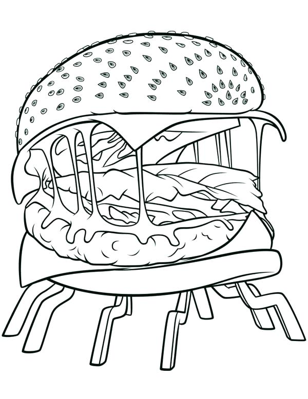 600x778 Cloudy With A Chance Of Meatballs Coloring Pages Giant Hamburger