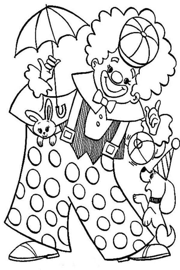 600x902 Clown Playing With Animal Circus Coloring Page Color Luna