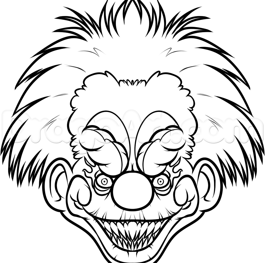 910x900 Scary Clown Coloring Pages To Download And Magnificent Clowns