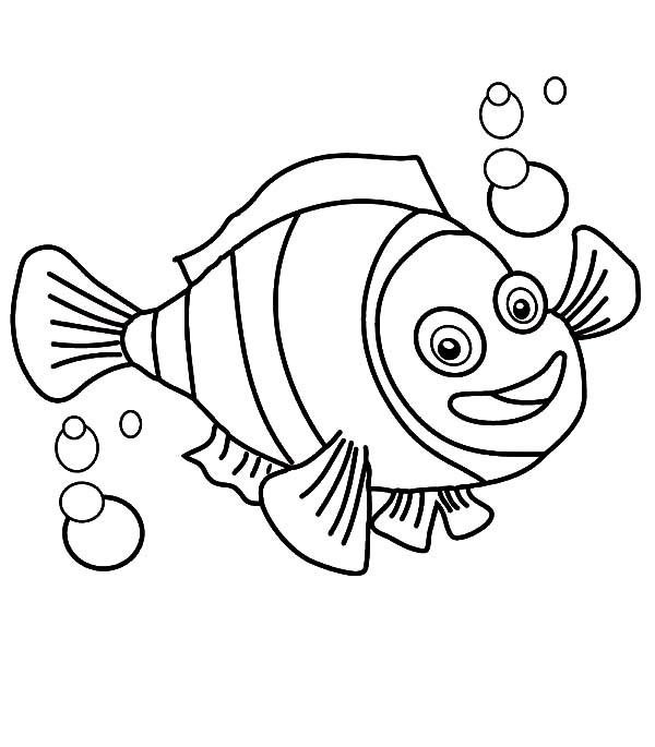 600x685 Clown Fish With Bubbles Coloring Pages Best Place To Color