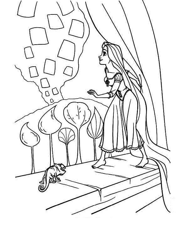 600x729 Tangled Lanterns Coloring Pages Rapunzel Let Down Your Hair Flynn