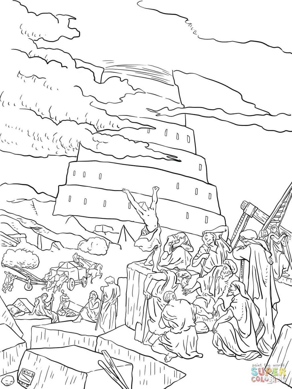 1024x1365 Expert Tower Of Babel Coloring Page Click